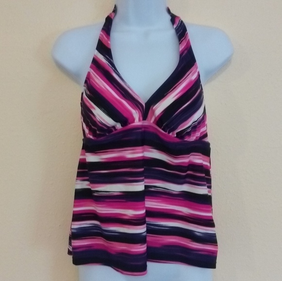Catalina Other - Purple & Pink Tankini Halter Swim Top Size Large